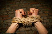 Hands of man tied up with rope — Stock Photo