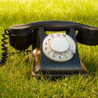 Retro styled rotary telephone on grass - Stock Photo