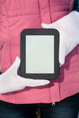 Woman's hands holding e-book reader — Foto Stock