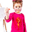 Beautiful little girl painting — Stock Photo #9447268
