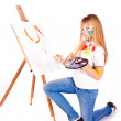 Beautiful little girl painting — Stock Photo #9447277