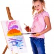 Stock Photo: Beautiful little girl painting