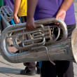 Musicians in wind blow band — Stock Photo #9602465