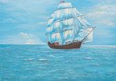 Sailing ship in the ocean — Foto de Stock