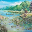 Landscape of lotus swamp — Stock Photo