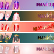 Manicure banners set — Stock Vector