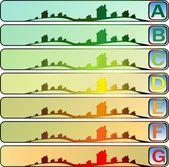 Banners van energieprestaties van gebouwen — Stockvector