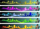 音乐波横幅一套 — 图库矢量图片