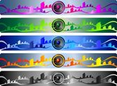 Set of musical wave banners — Stock Vector