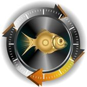Gold fish button — Stock Photo