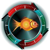 Fish button — Vettoriale Stock