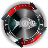 Silver fish button — Stock Vector