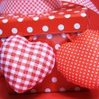 Red gift box with hearts — Stock Photo