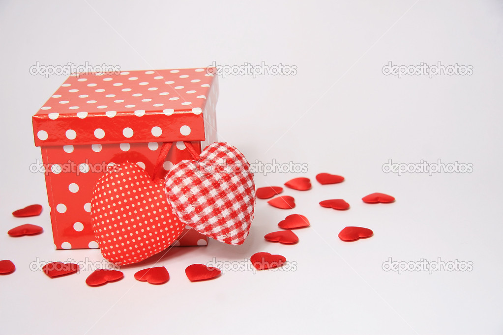 Red Gift box with hearts  Stock Photo #8561183