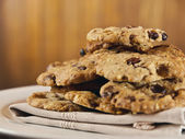 Extreme close-up image of chocolate chips cookies — Stock Photo