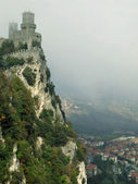 Castle to San Marino in the clouds — Stock Photo