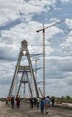 Megyeri Bridge under construction — Stock Photo