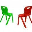 Red and green plastic chairs — Foto de Stock   #10119299