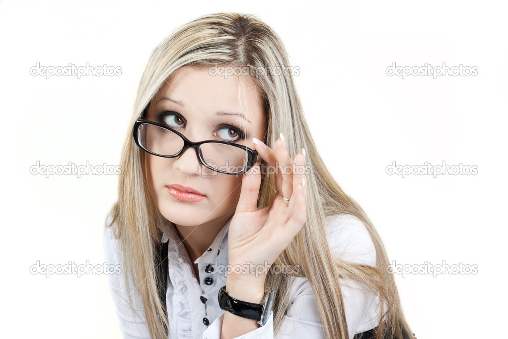 Woman Wearing Glasses on a white background — Stock Photo #10119467