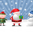 Stock Photo: Santa, gnom and snow man, illustration