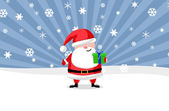 Santa ouside with a present — Stock Photo