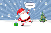 Santa ouside with a present and Christmas tree — Stock Photo