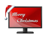 Monitor with red screen and Merry Christmas text — Stock Photo