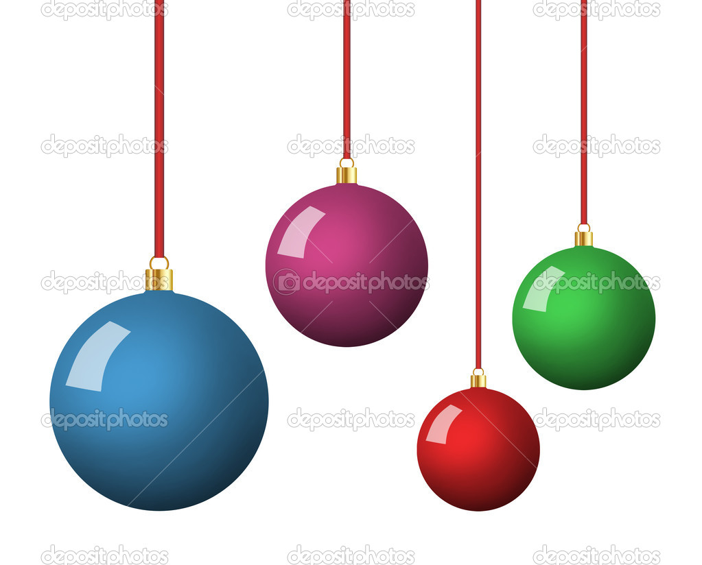 Christmas balls hanging isolated on white background  Foto de Stock   #8173120
