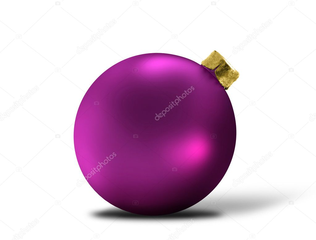 Glittering purple christmas bauble over white — Stock Photo #8173323