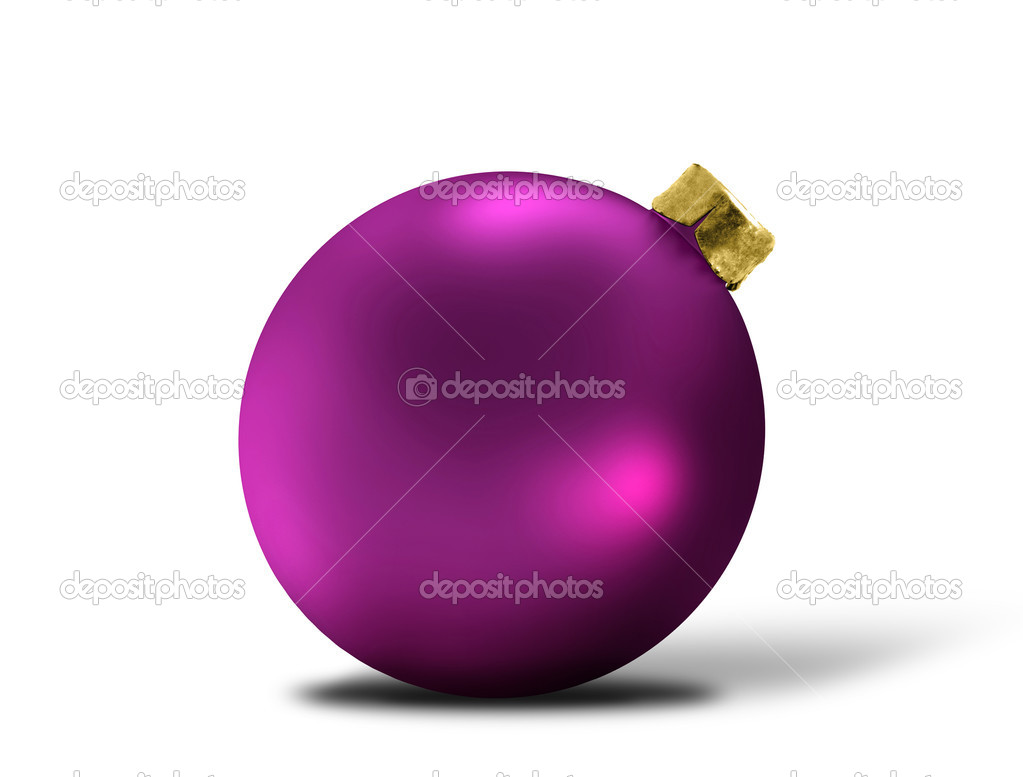 Glittering purple christmas bauble over white — Stok fotoğraf #8173323