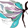 Butterfly girl — Stock Vector