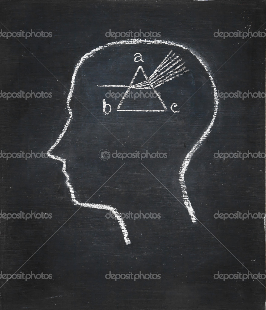 Drawing chalk board of inside head  — Stock Photo #9135505