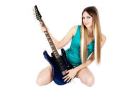 Pretty girl with electric guitar — Stock Photo