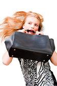 Sexy fashionable woman with bag — Stock Photo