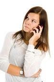 Jolie femme de parler par téléphone mobile — Photo
