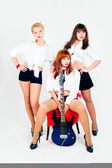Musical band of girls — Стоковое фото