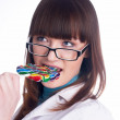 Pretty girl with candy — Stock Photo