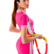 Young attractive womholding hulhoop — Stock Photo #9231527