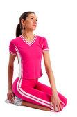 Fitness kobieta robi ćwiczenia — Zdjęcie stockowe