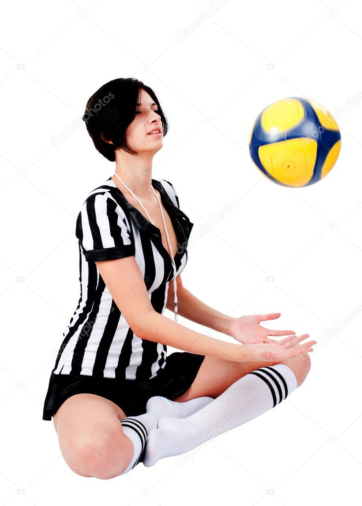 photo of girls soccer with referee № 16373
