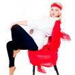 Pretty girl on chair - Stock Photo