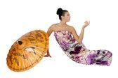有吸引力的女孩用伞 — 图库照片
