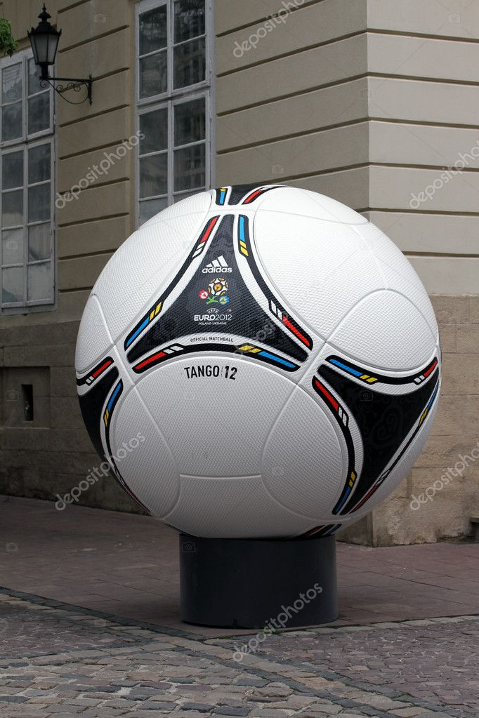 LVIV, UKRAINE - MAY 09: tango 12, the official matchball of EURO2012 POLAND - UKRAINE, in the main square of Lviv on May 09, 2012 in Lviv, Ukraine. Lviv will host EURO 2012 Football championships. — Stock Photo #10519092