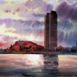 Barcelona cityscape painted by watercolor . - Stock Photo