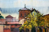 Roman cityscape painted by watercolor. — Stok fotoğraf