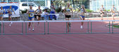 On the 400 meters hurdles race — Stock Photo