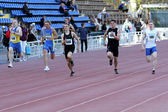 Boys on the 200 meters race — Stock Photo