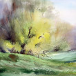 Watercolor painting landscape — Stock Photo