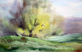 Watercolor painting landscape — Stock Photo
