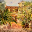 Watercolor painting of the building in St. Tropez. — Stock Photo #8067057